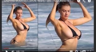 Charlotte Mckinney's BIKINI Nearly Falls